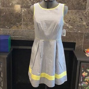 Jessica Simpson Seersucker and Yellow Lined Dress